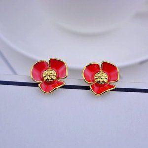 Tory Burch Enamel Red Flower Logo Earrings
